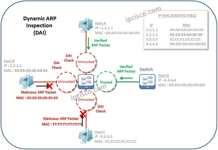 dynamic arp inspection trusted untrusted