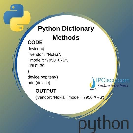 python-dictionary-methods-popitem-method
