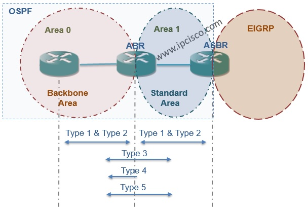 OSPF Backbone Area and Standard Area with Accepted LSAs