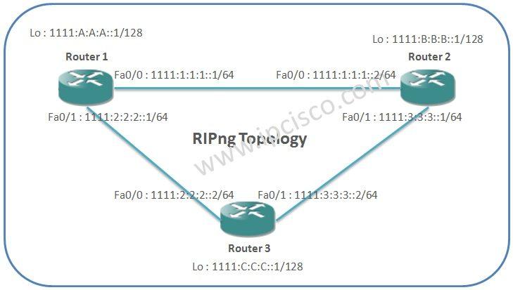 RIP IPv6 RIPng topology