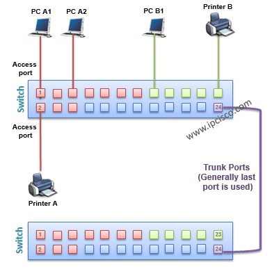 vlan(virtual local area network) port types, access port, trunk port
